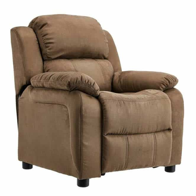 Deluxe Heavily Padded Kids Recliner with Storage Arms